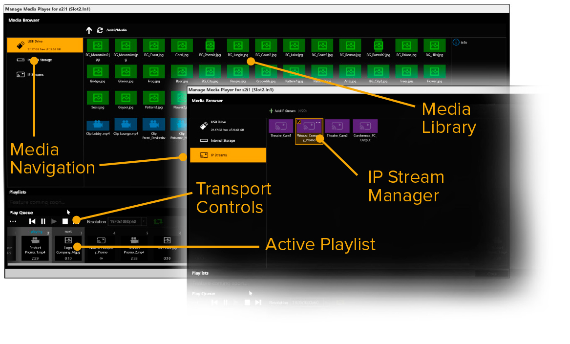 mix streaming video with 4k files and still images into a single playlist all from your coriomaster simple drag and drop along with expected transport - Video Wall Design